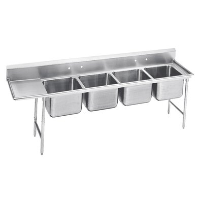 930 Series Seamless Bowl 4 Compartment Scullery Sink Width: 129