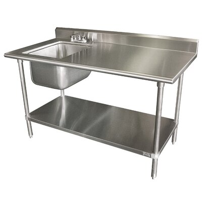 Single Work Table Sink with Faucet Width: 72