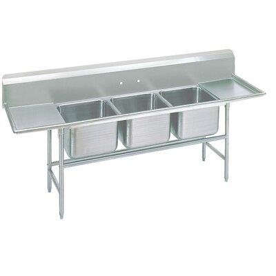 900 Series Seamless Triple Bowl 3 Compartment Scullery Sink Width: 139