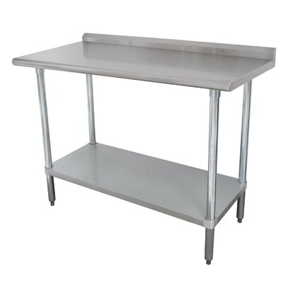 16 Gauge Stainless Steel Workbench with Backsplash Size: 40.5