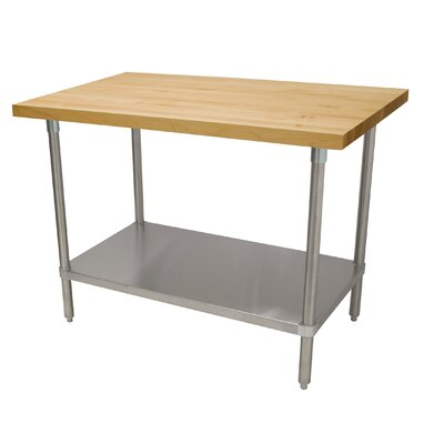 Prep Tale with Wood Top Size: 35.5 H x 96 D x 30 W