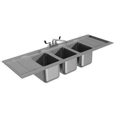 Drop-In Service Utility Sink with Faucet Size: 10 H x 60.31 L x 19 W