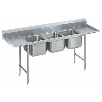 T-9 Series Single 3 Compartment Scullery Sink Size: 42 H x 103 W x 27 D