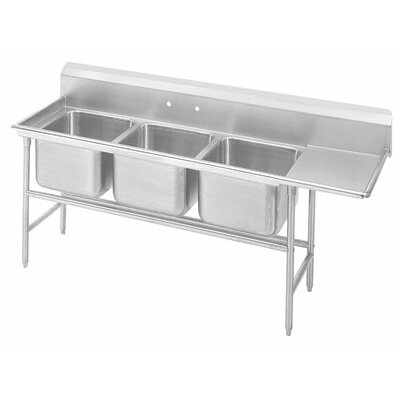 940 Series Triple Seamless Bowl Scullery Sink Length: 77