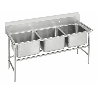 940 Series 62 x 27 Triple Seamless Bowl Scullery Sink