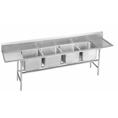 940 Series Seamless Bowl 4 Compartment Scullery Sink Length: 126
