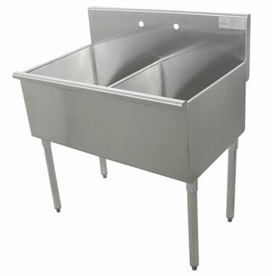 400 Series Double 2 Compartment Floor Service Sink Size: 41 H x 21 W x 48 D
