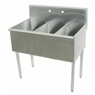 600 Series Triple 3 Compartment Floor Service Sink Size: 41 H x 24 W x 72 D