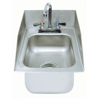 304 Series Single 1 Compartment Drop-in Hand Sink with Faucet Size: 10 H x 13 W x 19 D