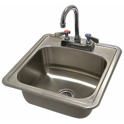 304 Series 15 x 15 Single Seamless Bowl Drop-in Hand Sink with Faucet