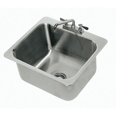 304 Series Single Seamless Bowl 1 Compartment Drop-in Sink with Faucet Size: 8 H x 21 W x 23 D