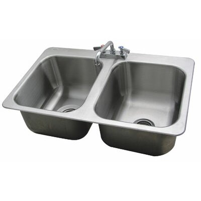 304 Series 34 x 21 Double Seamless Bowl Drop-in Sink with Faucet