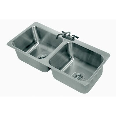 304 Series Double Seamless Bowl 2 Compartment Drop-in Sink with Faucet Size: 8 H x 23 W x 21 D
