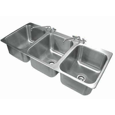 304 Series 56 x 25 Triple Seamless Bowl Drop-in Sink with Faucet