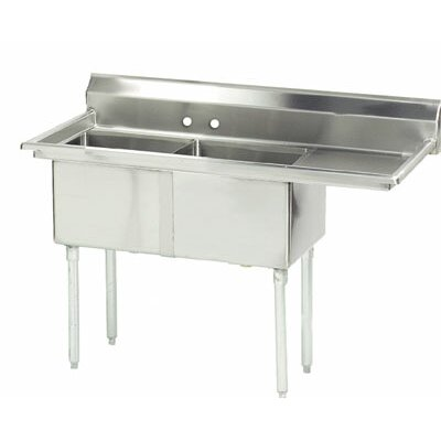 56.5 x 24 Double Fabricated Bowl 2 Compartment Scullery Sink