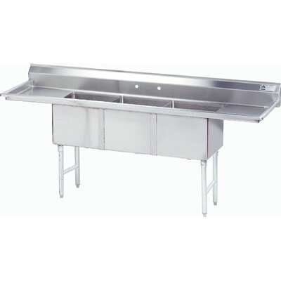 96 x 36 Triple Fabricated Bowl 3 Compartment Scullery Sink