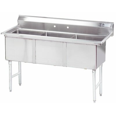 59 x 24 Triple Fabricated Bowl Scullery Sink