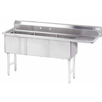 62.5 x 21 Triple Fabricated Bowl 3 Compartment Scullery Sink