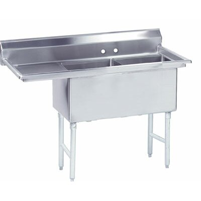 56.5 x 29.5 Double Fabricated Bowl 2 Compartment Scullery Sink