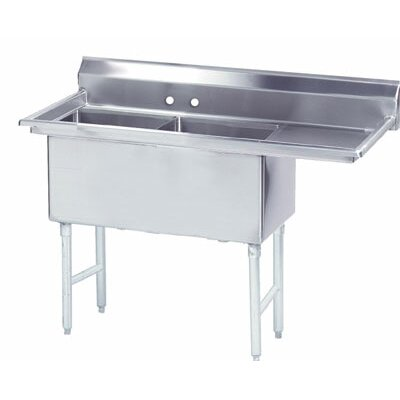 56.5 x 29 Double Fabricated Bowl 2 Compartment Scullery Sink