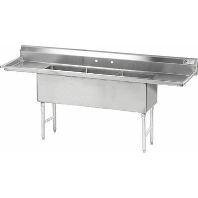 Triple Fabricated Bowl 3 Compartment Scullery Sink Size: 43 H x 90 W x 24 D