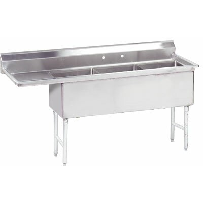Economy 74.5 x 23.75 Triple Fabricated Bowl Scullery Sink