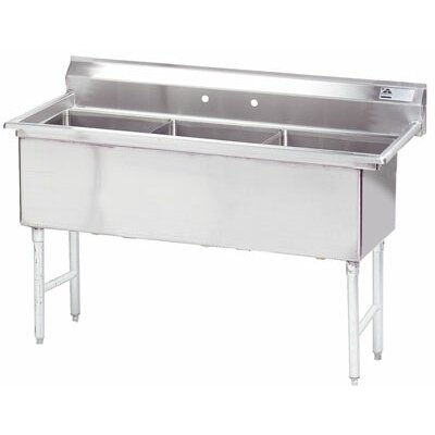 Triple Fabricated Bowl 3 Compartment Scullery Sink Size: 43 H x 59 W x 29 D