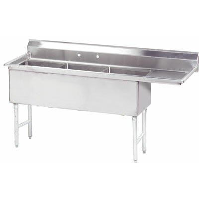 Economy 80.5 x 29.75 Triple Fabricated Bowl Scullery Sink