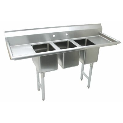 Triple Fabricated Bowl 3 Compartment Scullery Sink Size: 42 H x 64 W x 25.5 D