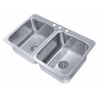 Double Seamless Bowl 2 Compartment Drop-in Sink Size: 7 H x 45 W x 21 D
