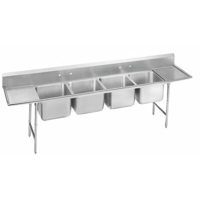 930 Series Seamless Bowl 4 Compartment Scullery Sink Length: 122
