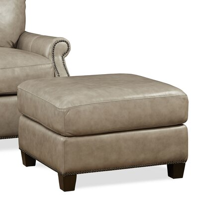 Kingston Leather Ottoman Upholstery: Light Grey