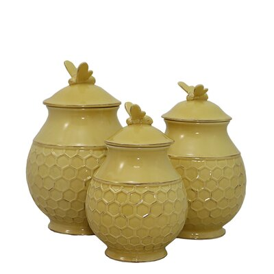 Bee Hive 3 Piece Storage Jar Set