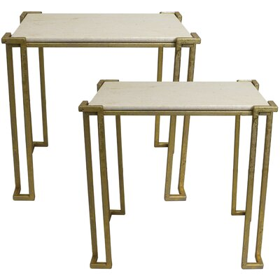 Alioth 2 Piece Marble Nesting Table Set