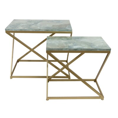 Astoria Faux Marble 2 Piece Nesting Table