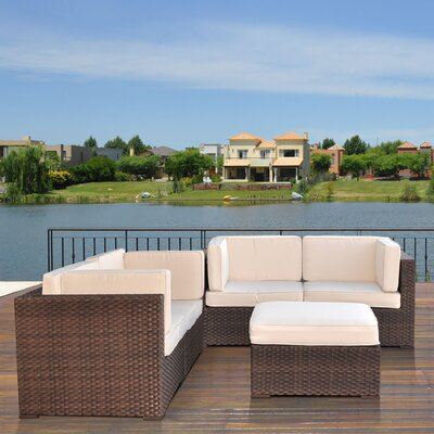 International Home Miami Nice 5 Piece Deep Seating Group with Cushions - Fabric: Off-White at Sears.com