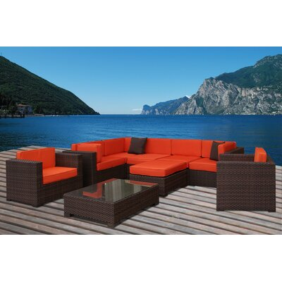 Southampton 9 Piece Deep Seating Group with Cushions Fabric: Orange