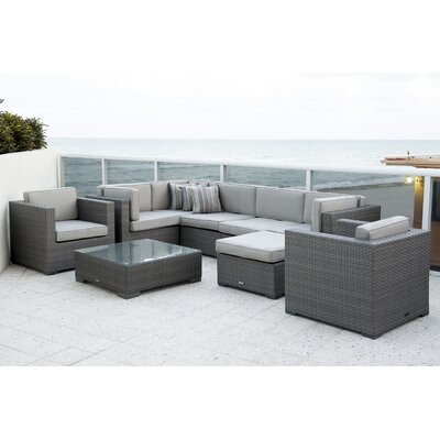 Southampton 9 Piece Sectional Deep Seating Group with Cushions Fabric: Deluxe Sunbrella Spectrum Dove