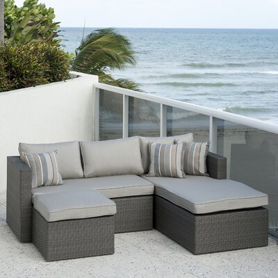 Caffin 3 Piece Sectional Set with Cushions Fabric: Gray/Spectrum Dove