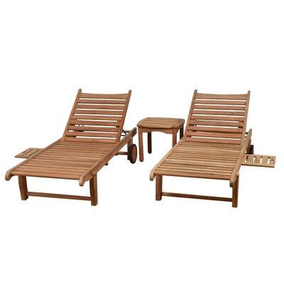 Imler 3 Piece Teak Chaise Lounge Set