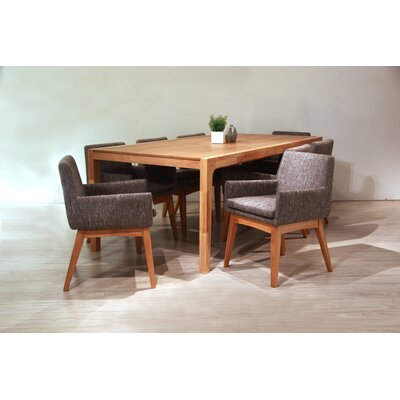 Perla 9 Piece Dining Set Finish: Natural, Upholstery Color: Gray