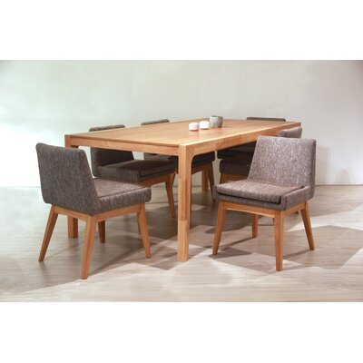Perla 7 Piece Dining Set Finish: Natural, Upholstery Color: Gray