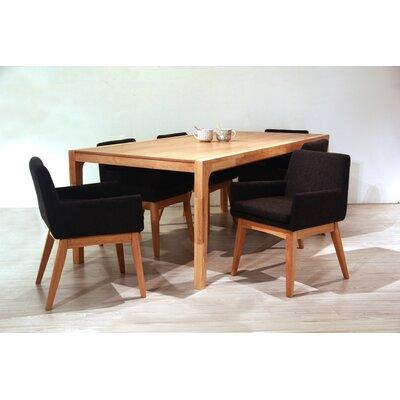 Perla 7 Piece Dining Set Upholstery Color: Liquorice, Finish: Natural