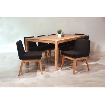 Perla 9 Piece Dining Set Finish: Natural, Upholstery Color: Liquorice