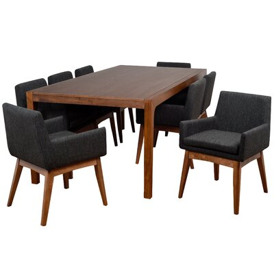 Perla 9 Piece Dining Set Finish: Cocoa, Upholstery Color: Liquorice