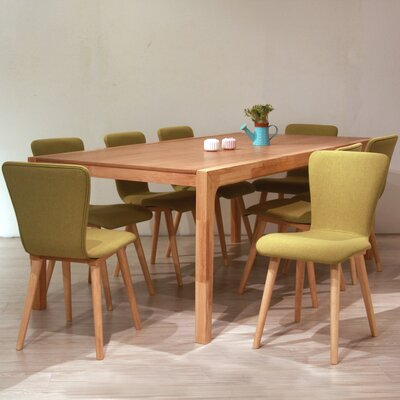 Perla 9 Piece Dining Set Upholstery Color: Green