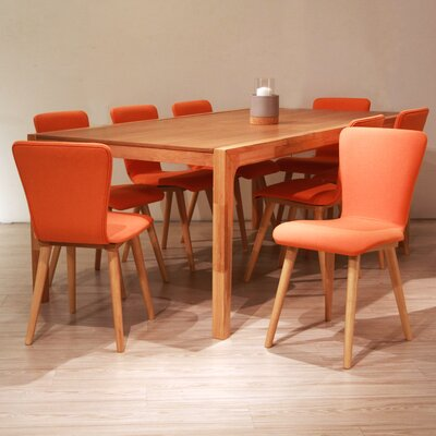 Perla 9 Piece Dining Set Upholstery Color: Tangerine