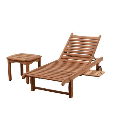Imler 2 Piece Teak Chaise Lounge Set