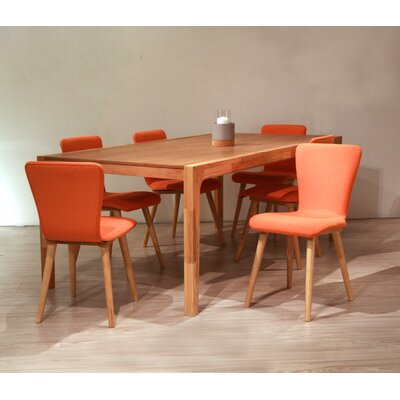 Perla 7 Piece Dining Set Upholstery Color: Tangerine