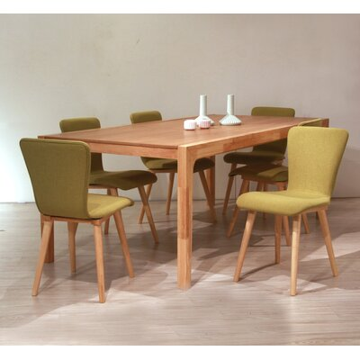 Perla 7 Piece Dining Set Upholstery Color: Green